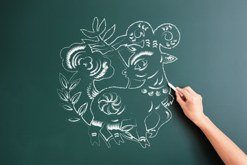 sheep cartoon drawed on blackboard