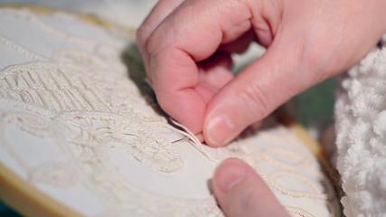 A close look at an macrame handcraft