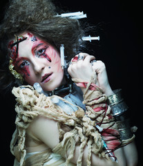 Young woman with creative make up.