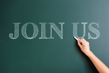 join us written on blackboard