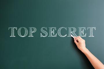 top secret written on blackboard