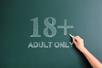 18 plus adult only written on blackboard
