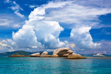 Tropical island at Seychelles and boats