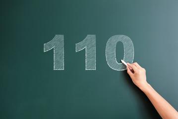 110 written on blackboard