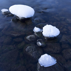 Snow-covered stones in the water