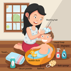 Mother washing her child 's hair with love illustration, vector