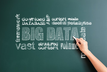 big data and other words written on blackboard