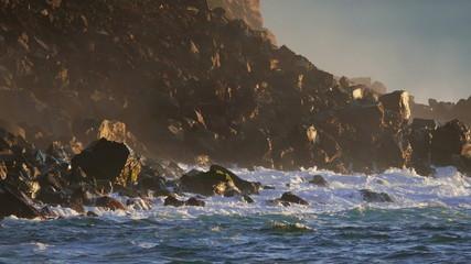 Waves Atlantic Ocean Breaking onto Rocks, sunset