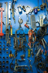 Blue storage wall for tools