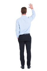 Rear view of businessman in shirt waving