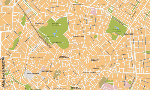 Milano city vector map - 76350776