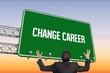 Change career against purple and orange sky