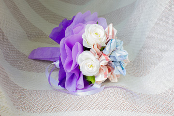 Bouquet of flowers made from currency baht