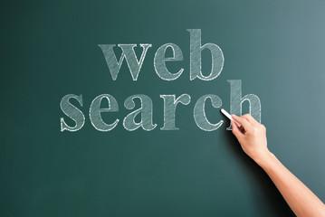 web search written on blackboard