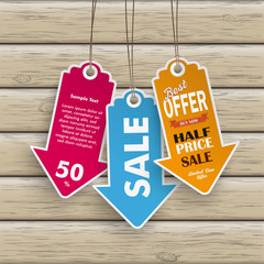 White Price Sticker Arrow Wood
