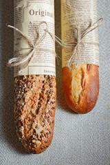 crusty French baguette bread