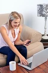 Woman doing online banking