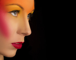 portrait of a girl with bright creative make-up