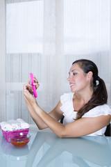 woman filing nails.