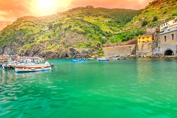 Wonderful sunrise and colorful boats,Vernazza,Liguria,Italy