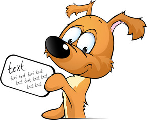 cute dog peeking holding a sign with the inscription - vector