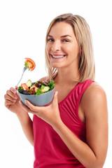 women eating salad