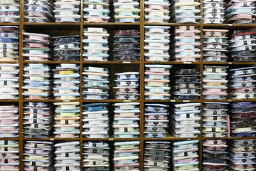 Shirts perfectly arranged in a shop in Sri Lanka.