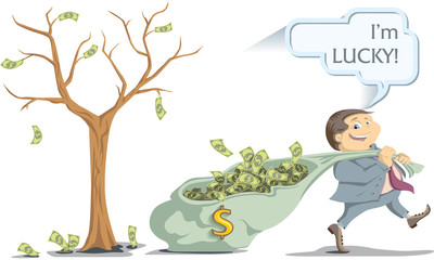 lucky businessman pulling a bag of money from the money tree