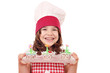 happy little girl cook with spring flower muffin