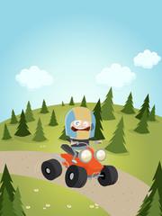 quad fahren cartoon lustig