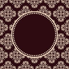 round decorative frame on seamless pattern