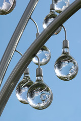 decorative glass spheres on a metal frame