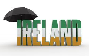Ireland Text with Umbrella