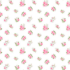 Cute vintage rose pattern. Vector illustration