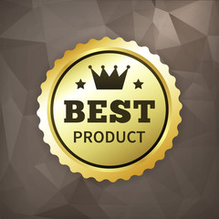 best product business gold label on crumple paper