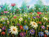 Original oil painting of flowers Wildflowers. - 76354753