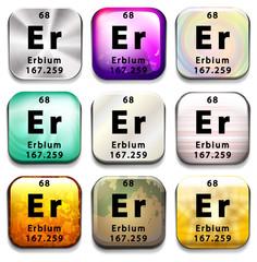 A button showing the element Erbium