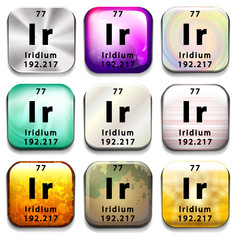 A button showing the element Iridium