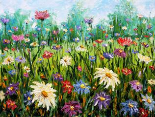 Original oil painting of flowers Wildflowers.