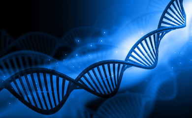 DNA molecules on blue background .