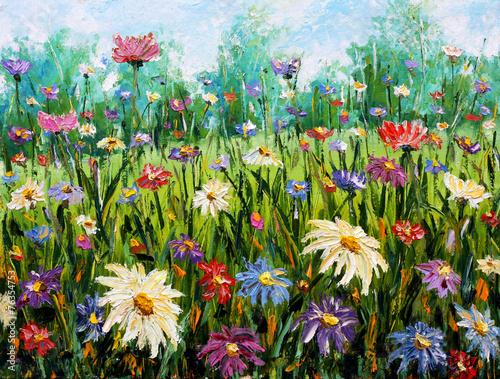 Obraz Original oil painting of flowers Wildflowers.