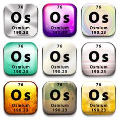 A button showing the element Osmium