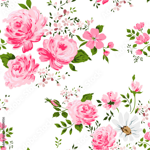 Materiał do szycia Seamless pattern with pink roses and camomile.