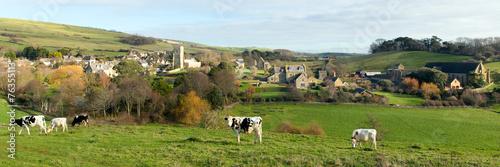 English village Abbotsbury Dorset UK panorama - 76355113