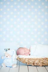 Picture of a newborn baby sleeping in a basket on blanket