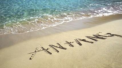 Wort Anfang geschrieben in Sand