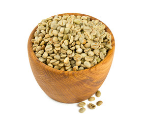 green coffee beans in a wooden bowl