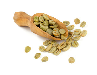 green coffee beans in a wooden scoop