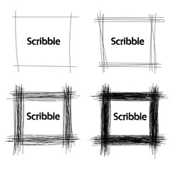 Set of Hand Drawn Scribble Squares, vector design elements