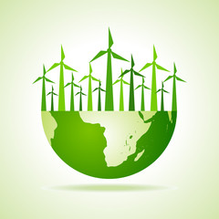 Ecology concept - earth with wind mill stock vector